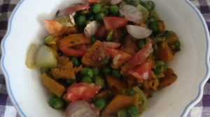 Pumpkin and green peas curry
